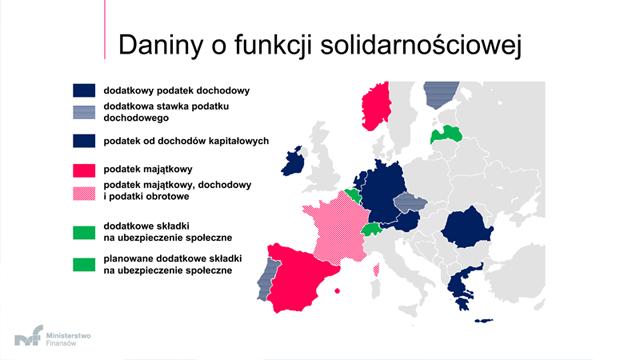 Mapa Europu wraz z zaznaczonymi daninami o funkcji solidarnościowej