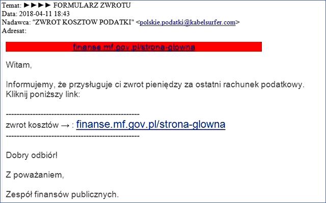 Przykładowy mail w którym jest informacja na temat zwrotu pieniędzy za ostatni rachunek podatkowy wraz z linkiem do strony www.finanse.mf.gov.pl